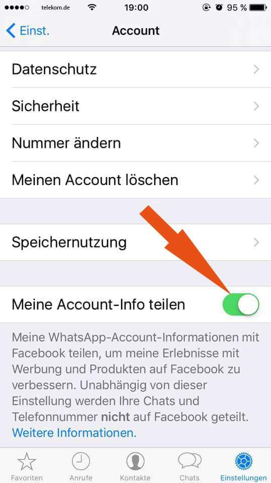 Screen von WhatsApp Einstellungen.