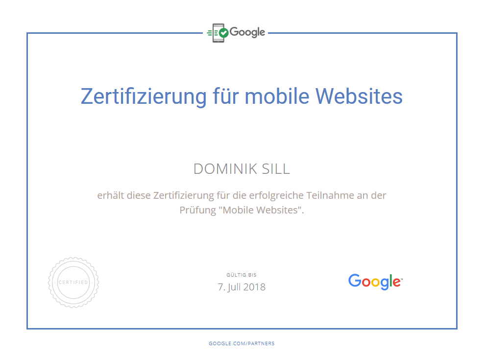 Google-Zertifizierung für mobile Websites