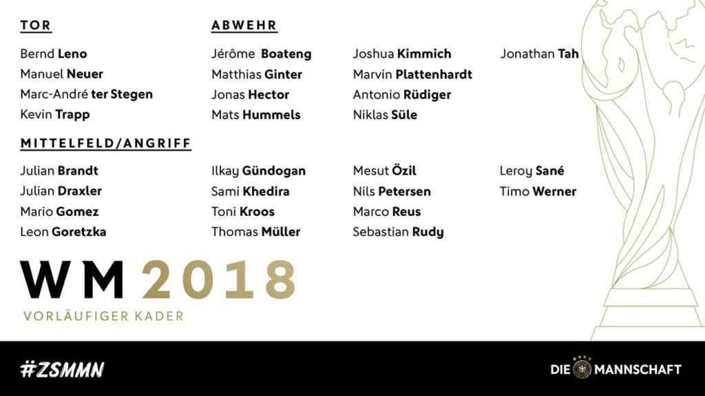 Jogi Löw gibt die vorläufige Mannschaft für die WM 2018 in Russland bekannt